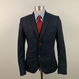 H&M Mens Blazer - Blue Fleck Wool Blend Sport Coat